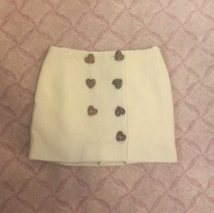 Moschino Mini Skirt White with brown buttons