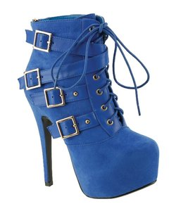Red Circle Footwear Lace Bootie Sexy High Heel Blue Boots