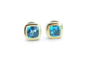 David Yurman David Yurman 18K & Silver Blue Topaz Large Albion Stud Earrings