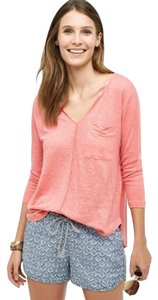 Anthropologie Bordeaux Vneck Onepocket Linen T Shirt Pink/ Rose/ Salmon