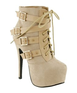 Red Circle Footwear Lace Bootie Sexy High Heel Nude Boots