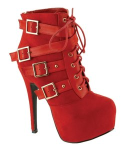 Red Circle Footwear Lace Bootie Sexy High Heel Red Boots