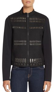 Elie Tahari Laser Cut Leather Leather Jacket