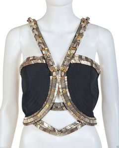 Versace Silk Embellished Black Halter Top