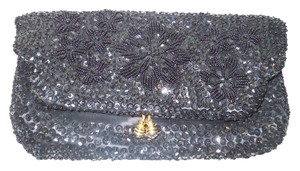 made in Hong Kong Vintage Sequin Evening black Clutch