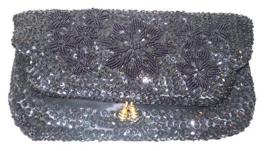 made in Hong Kong Vintage Beaded Sequin Evening black Clutch