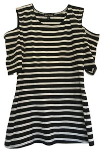 Express Striped Cold Shoulder Top Black and White