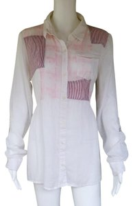 Free People Linen Drawstring Adjustable Sleeves Top White and Pink
