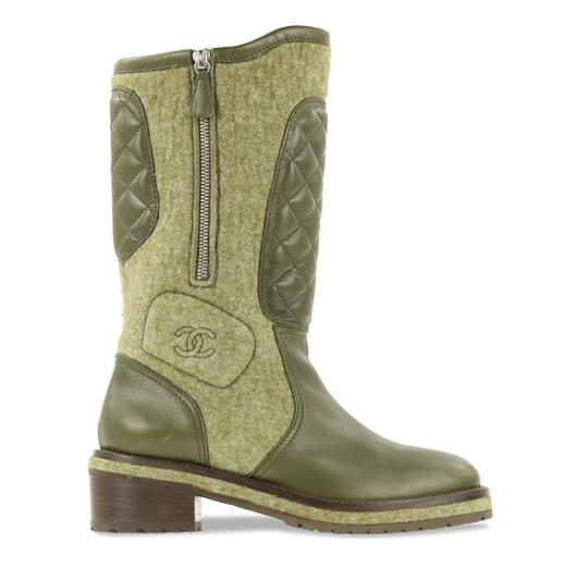 Preload https://img-static.tradesy.com/item/19868260/chanel-green-quilted-leather-and-felt-bootsbooties-size-eu-38-approx-us-8-regular-m-b-0-4-540-540.jpg