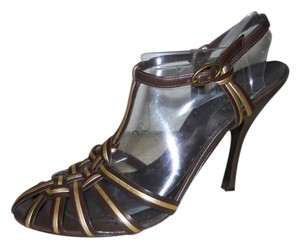 BCBGirls Leather Mbc brown & gold Sandals