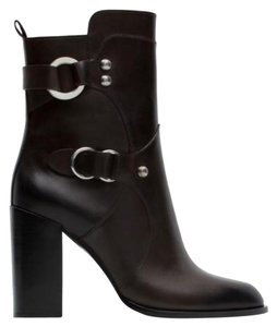 5577062f10be Zara Brown Leather Buckle Ankle Boots Booties Size US 6.5 Regular (M ...