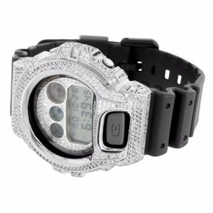 G-Shock Mens G Shock Watch Dw6900 Full Iced Out Silver Tone Icy Bezel Black