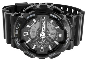 Mens Black Sports Watch Shock Resistant Digital Analog On Sale