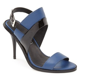 Sol Sana Nwt Leather Patent Leather Blue and Black Sandals