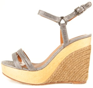 Lanvin Metallic & Wood Wedges