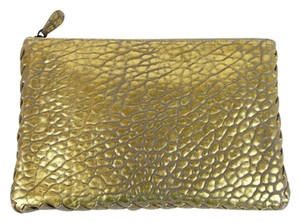 Bottega Veneta Leather Pouch Gold Clutch