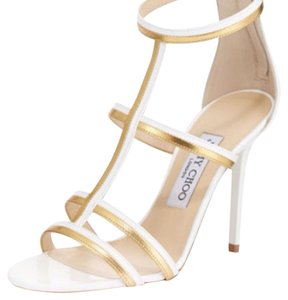 Jimmy Choo Thistle White/Gold Sandals
