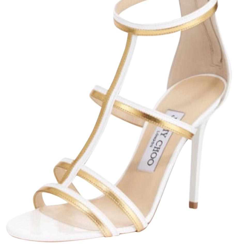 089c593810d88f Jimmy Choo Thistle Patent   Metallic White Gold White Gold Sandals Image 0  ...