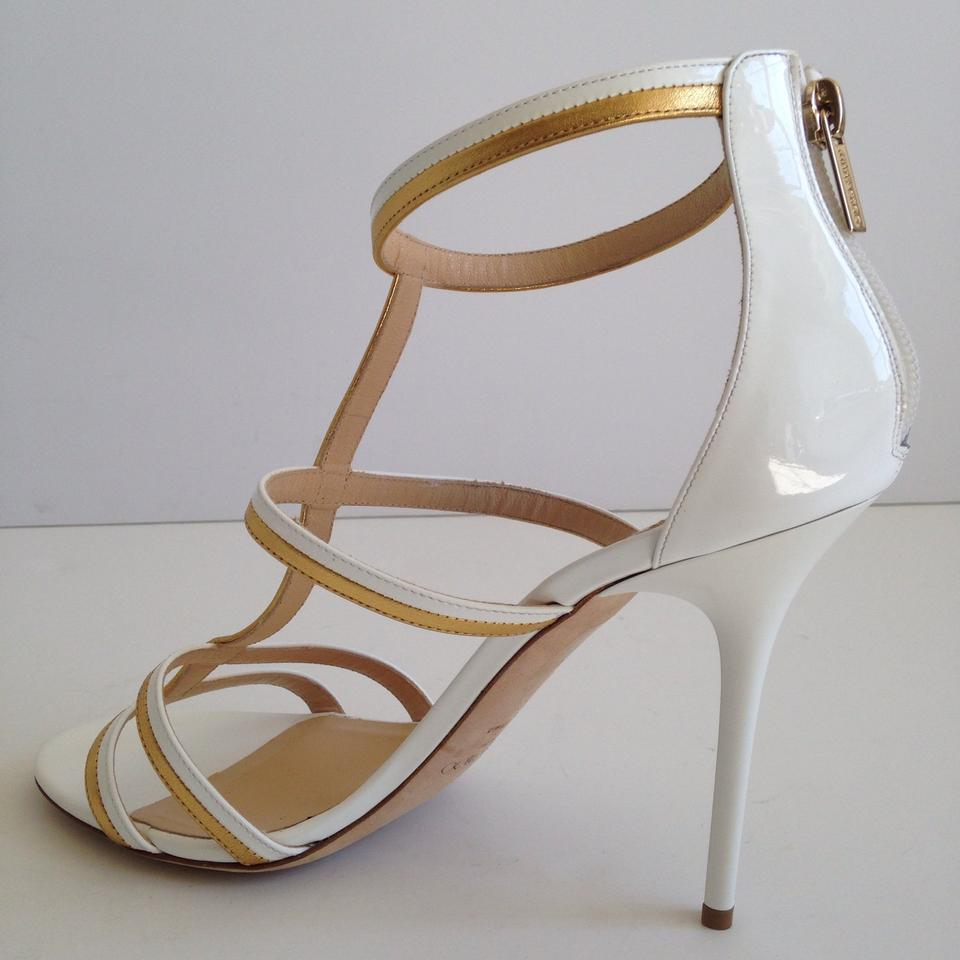 fc217b594d7f2a Jimmy Choo White Gold Thistle Sandals Size US 12 Regular (M