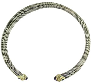 David Yurman David Yurman 14k Gold 3 Cable Silver Amethyst Peridot Choker Necklace