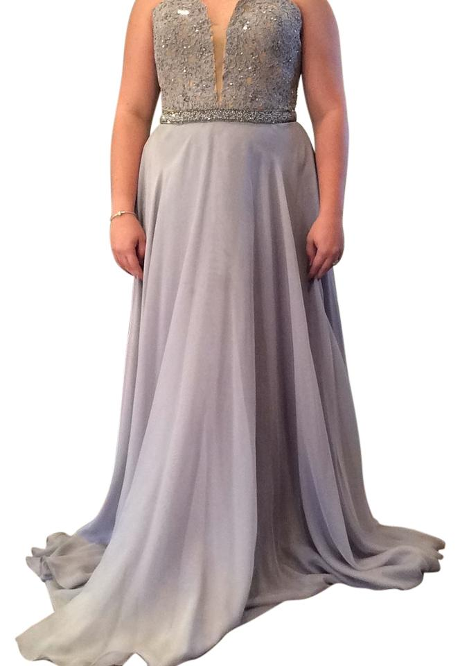 Sherri Hill Silvernude 32180 Long Formal Dress Size 16 Xl Plus 0x