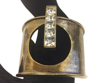 Vintage heavy diamond and brush gold metal cuff