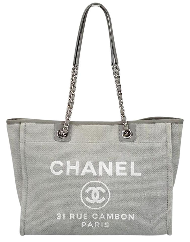 23275683f112 Chanel Deauville Cambon 31 Rue Paris Canvas Chain Shoulder Grey ...