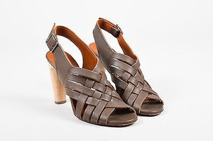Lanvin Leather Wooden Taupe Sandals