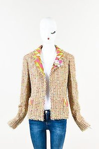 Chanel Tan Wool Tweed Ls Collared Fray Trim Open Multi-Color Jacket