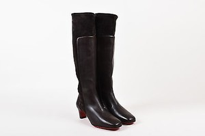 Christian Louboutin Leather Suede Panel Square Toe Tall Brown Boots