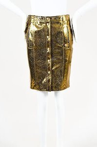 Versace Metallic Leather Skirt Gold