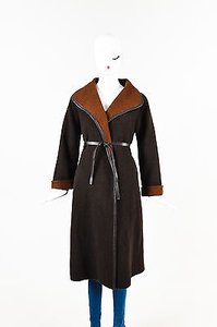 Max Mara Woolen Leather Trim Two Tone Belted Long Sleeve Trench Coat