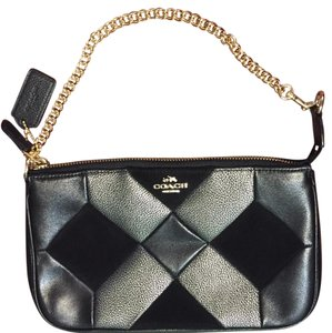 Coach Patchwork Quilted Black Leather Silver Wristlet in Black, Silver