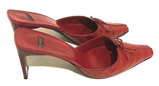 Casadei Kitten Heels Slides Closed Toe Exotic Leather Pump Red Mules