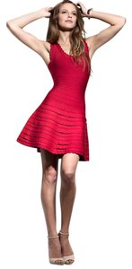 Herv Leger Scalloped A-line Flare Dress