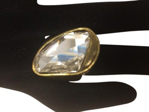 Other French design Asymmetric diamond and metal brush gold ring size 7