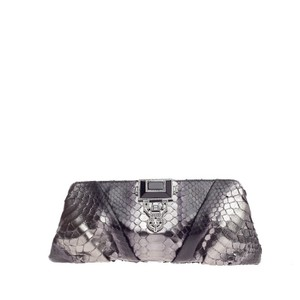 Judith Leiber Python Black and Grey Clutch