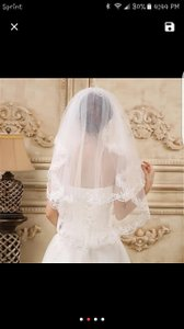 Beautiful Sequined Elbow Length Veil