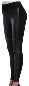 Nygard Slims Faux Leather Embeliished Leggings Straight Pants Black