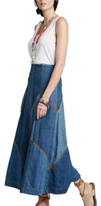 Free People Denim Maxi Patchwork Suede Maxi Skirt