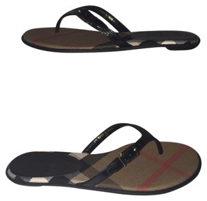 Burberry Black with Check Print Sandals