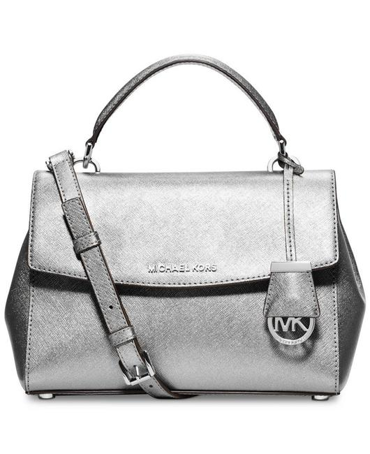 Item - Ava Small Top Handle Silver Leather Satchel