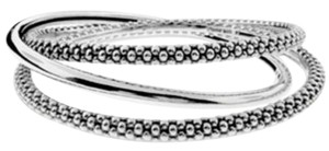 Lagos Lagos Caviar Beaded Sterling Silver Triple Stackable Bangle Bracelets