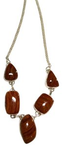 New Jasper Gemstone 925 Silver Necklace Brown Silver 18 Inch J694
