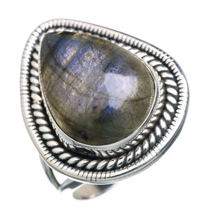 Labradorite 925 Sterling Silver Ring Size 8