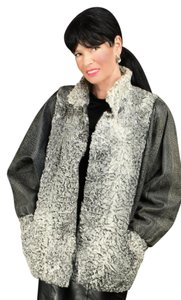 Saga Furs Persian Fur Coat gray Leather Jacket