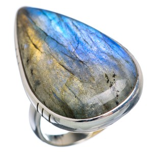 Huge Labradorite 925 Sterling Silver Ring Size 7.25