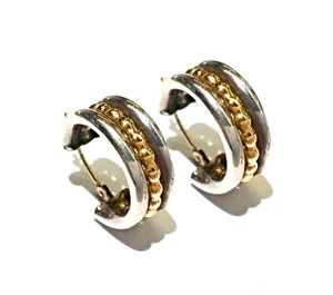DeWitt's Sterling Silver & 14K Yellow Gold Hoop Earrings