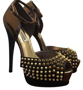 Steve Madden Black, Gold, Bronze Platforms