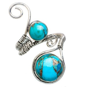 Other Blue Copper Turquoise 925 Sterling Silver Ring Size 8